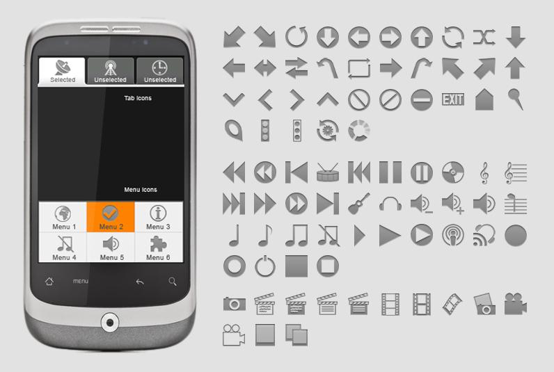 New menu icons and tab icons for Android app developers released by iconsBerlin