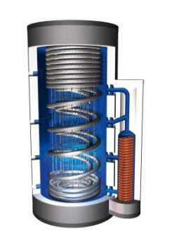 Stratified storage tank Pro-Clean with spherical exchanger and two corrugated pipes