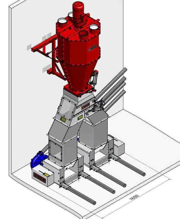 """The """"TM 100"""". WEDA introduces the first dry mixer worldwide, which is able to distribute pigs' feed to four circuits."""