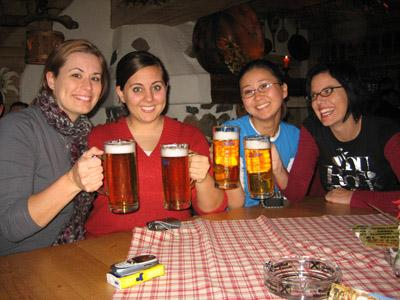 Raising Steins of Beer at Oktoberfest