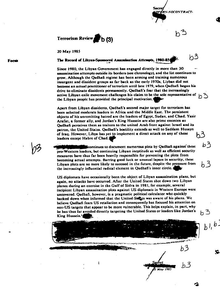 CIA memo on Libyan terror activity