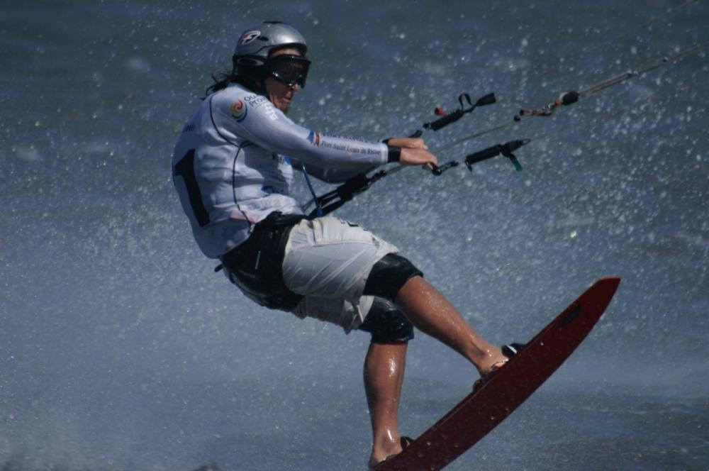 Leader Alex Caizergues getting air
