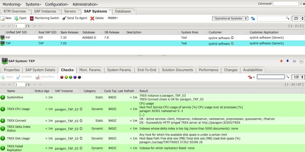 SAP NetWeaver Search and Classification (TREX) System monitored with syslink Xandria