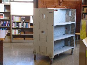 Library trolleys from Pluscrates provide up to 6 metres of shelving, twice the capacity of other folding shelving.