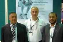 Mr. Neo Neophytou (centre), Managing Director of ADAOX Middle East with Mr. Asem Saleh, Branch Manager and Mr. Basheer Palick, Sales Manager of J. Al-Jassim Electronics Est.