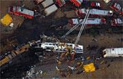 Sky view of the Worst Train Disaster in California History Chatsworth  California