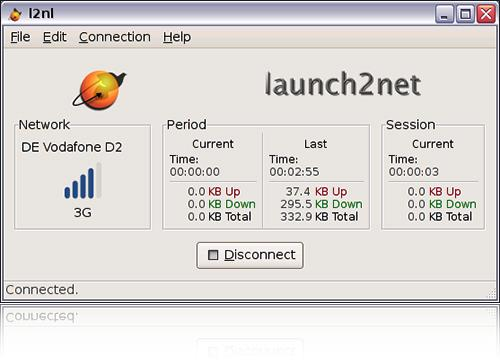Main window of launch2net for Linux