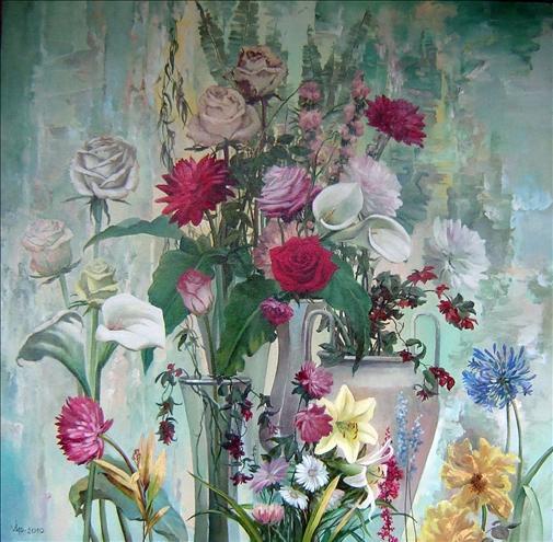 "Latin Beauty, Oil on Canvas, 39"" x 39"""
