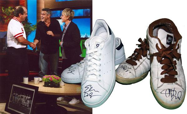 Celebrity talk show hosts Ellen DeGeneres and Jimmy Kimmel  kick off the Second Annual Hillsides Foster Soles in Los Angeles, an online auction of celebrity autographed shoes.