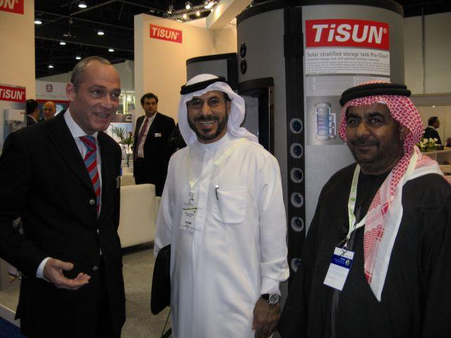 Robin M. Welling, CEO TiSUN GmbH and TiSUN LLC. talks to visitors of the WFES 2009 in Abu Dhabi