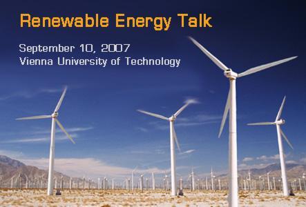 """Renewable Energy Talk"" at Vienna University of Technology"