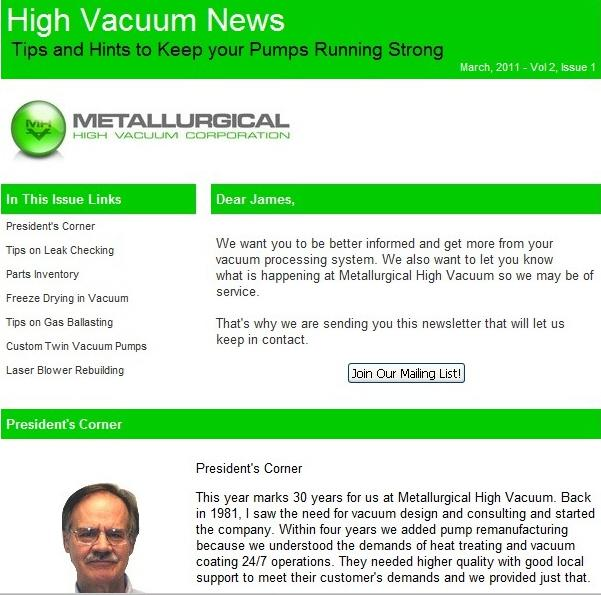 Vacuum News delivers helpful tips and news to heat treaters and coaters