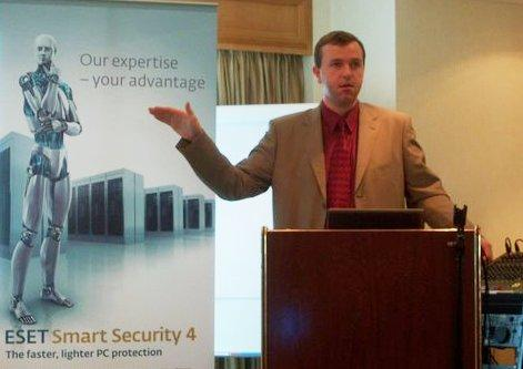Jozef Manduch, ESET Technical Education Manager, speaking at ADAOX's Partner conference and training programme