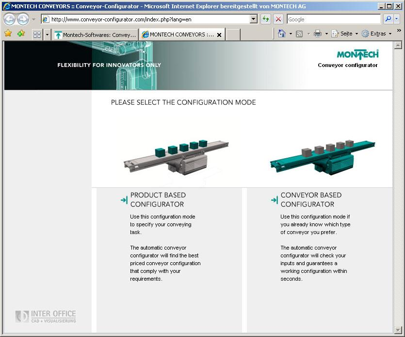 Montech's conveyor configurator is now available in a product-oriented and a conveyor-oriented version.