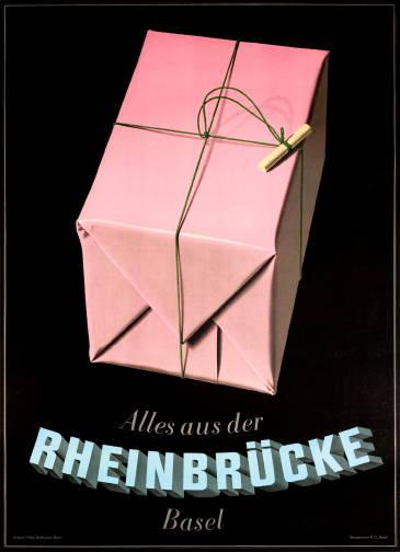 Peter Birkhauser, Rheinbrucke, 1942.  Lithograph, 35 x 50 inches.
