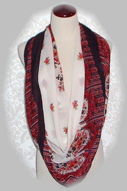 Vintage Red And Black Floral Large Square Scarf