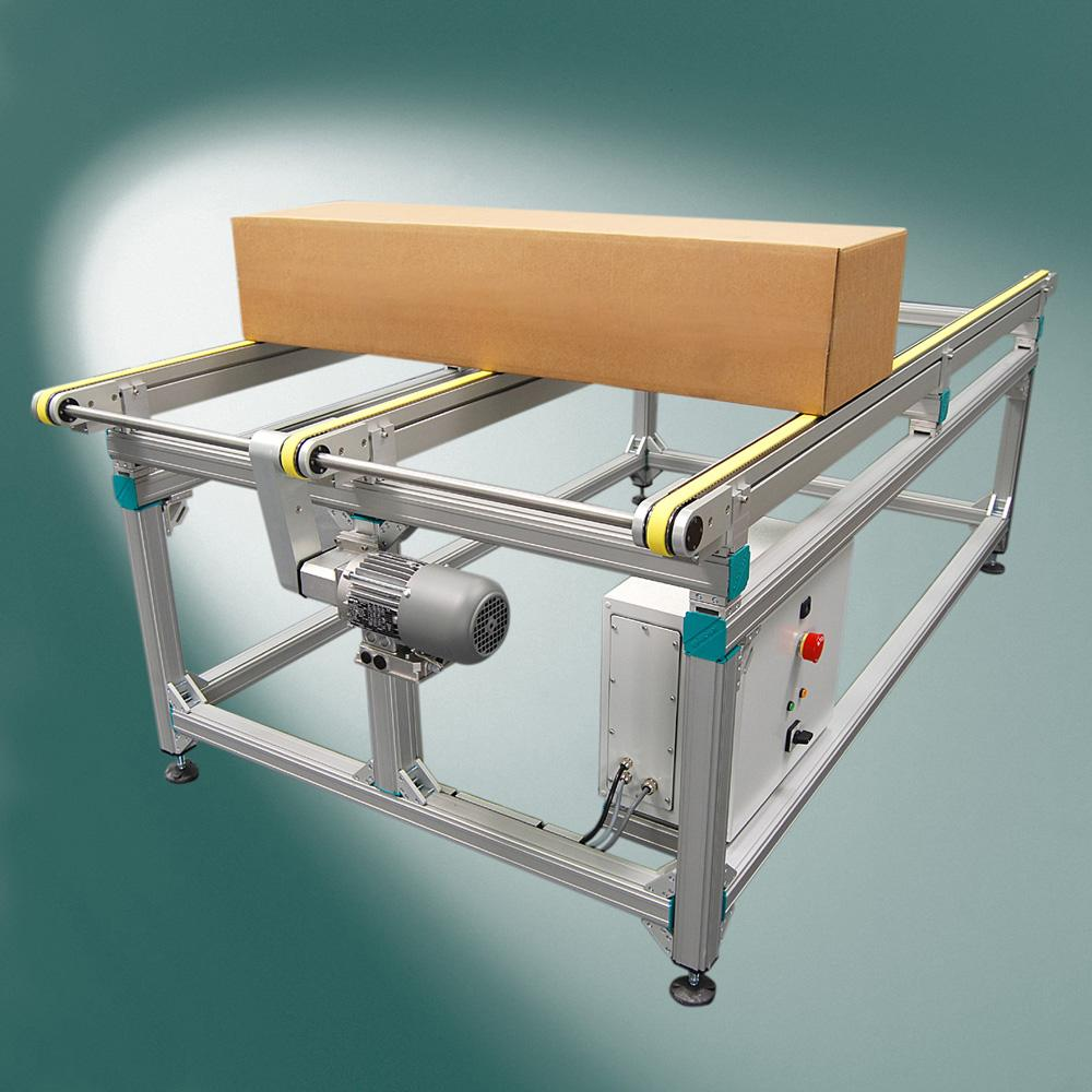 The multitrack belt conveyor for weights up to 100 kg is available with three types of drives