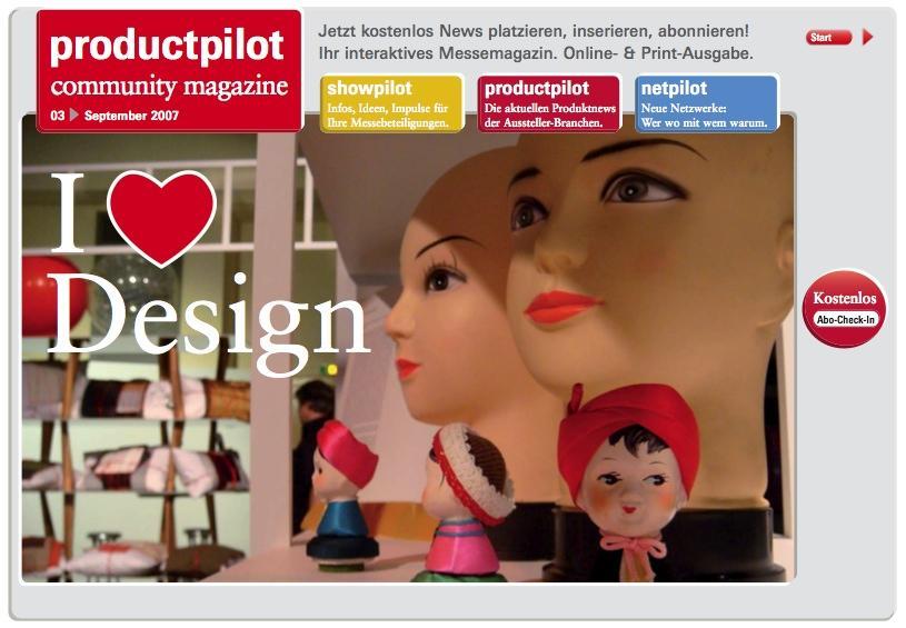 I love Design - Coverpicture of productpilot community magazine