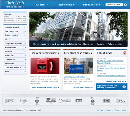 The new Chris Lewis Fire & Security website, www.chrislewisfs.co.uk.