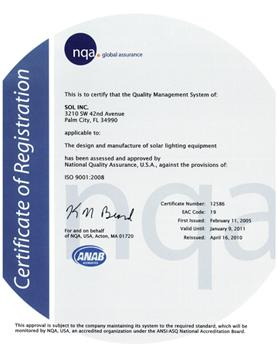 SOL Inc's ISO 9001:2008 certificate