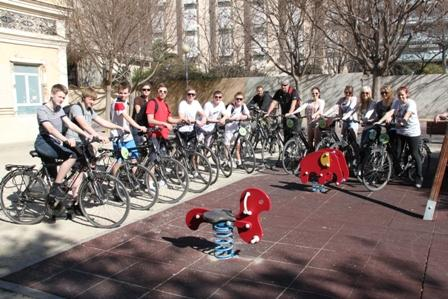 Spanish students during a bicycle tour
