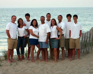 The Woodward, Christian & Knight Families (2005 Outer Banks Vacation)  From left to right -  Jim Woodward, Lisa Woodward, Austin Woodward, Jennifer Knight, Keith Knight, Andy Woodward, Susan Christian, Brad Christian, Tim Snyder and Alex Woodward.