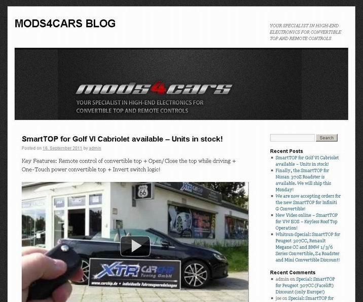 Mods4cars operates own blog