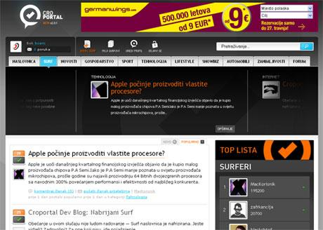 Croportal Surf homepage screenshot