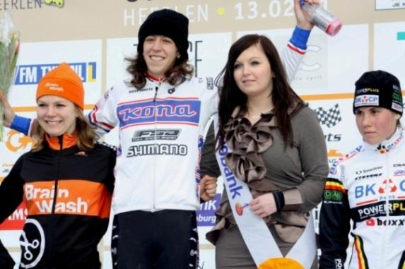 Helen Wyman uses CNP Pro Recover after a recent win in Holland.