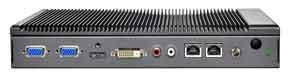 The front side of the platform has 4 video out ports, HDMI, DVI-D and 2 x VGA.