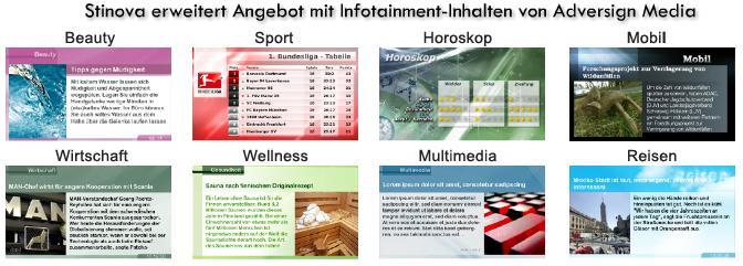 Stinova Digital Signage extends with Infotainment Content