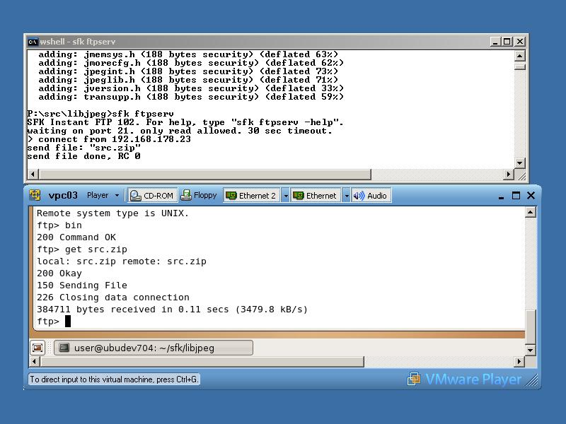 Windows, virtual Linux and instant file transfer on the command line.