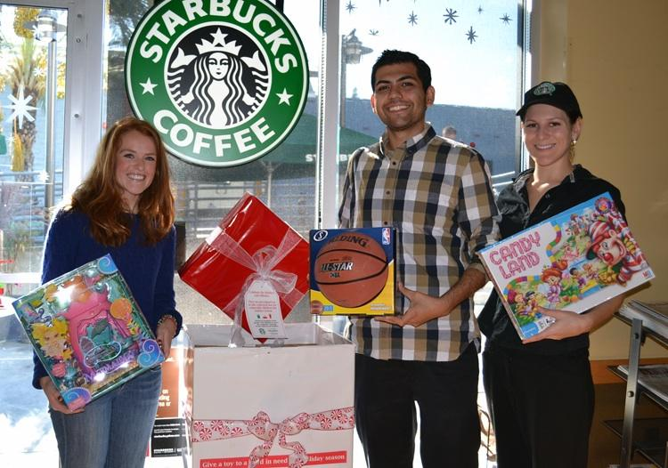 Brittany Berryman, Community Resources Assistant, Guillermo Nuñez III, Resident of Pasadena with Sarah Coffman, Stabucks Manager