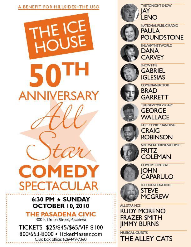 Jay Leno, Brad Garrett & Gabriel Iglesias Headline at Ice House 50th Anniversary Show to Benefit Hillsides