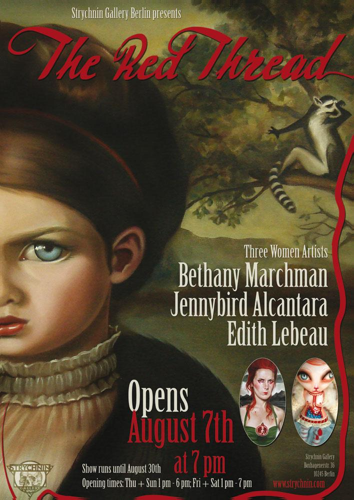 Bethany Marchan, Edith Lebeau and Jennybird Alcantara will be showign new works in Strychnin Gallery's August exhibition.