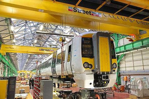 Street overhead cranes transport loads at up to 40 metres/min down the 180 metre long Bombardier workshop.