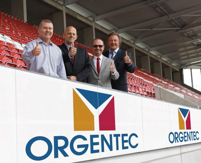 The south stands of Coface Arena in Mainz become the ORGENTEC stands.