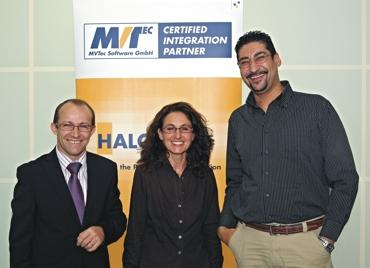 The Italian company Digital Control Engineering is the twentieth member of the MVTec Certified Integration Partner Program. From left to right: Gerardo Pepe (System Manager), Angela Agrosì (Software Designer), and Gian Paolo Daino (Hardware Designer).