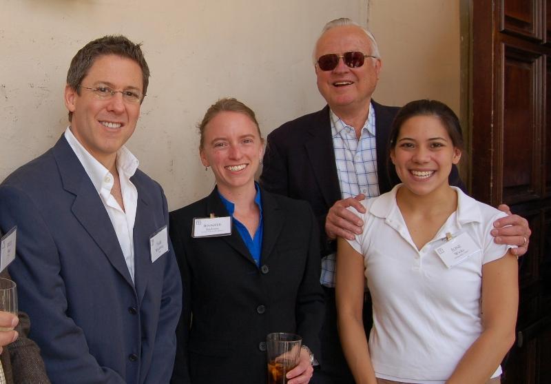 Guest Paul Weinberg stands with Dr. Jennifer Jackson, Associates member Don Pinkerton and Caltech undergraduate student June Wicks at the Associates outdoor reception