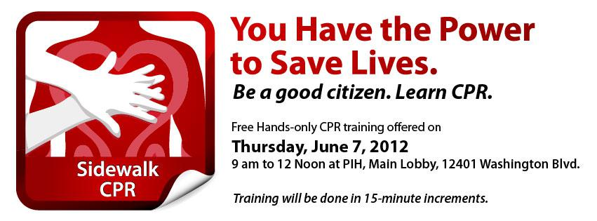 PIH to Host Free Hands-Only CPR Training in Honor of National CPR Week on June 7, 2012.