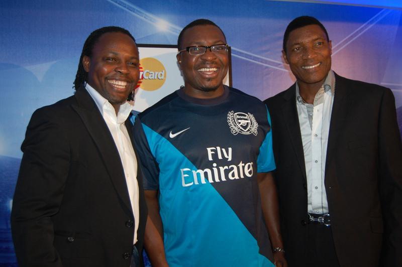 L-R Ex - Super Eagles International Victor Ikpeba, Ace Comedian Alli Baba and Peter Rufai, Former Super Eagle Goalkeeper at the Ma