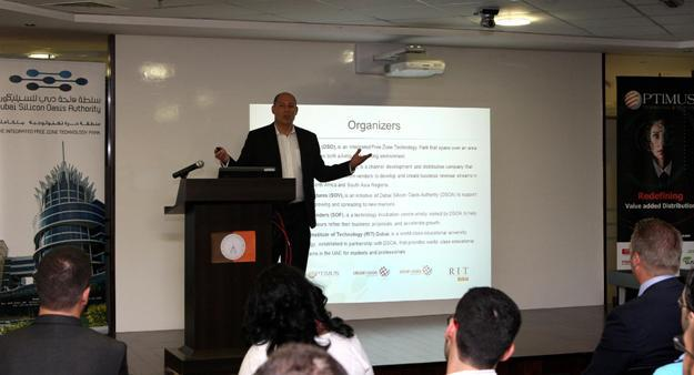 Philip Boigner, Director at DSOA speaking at the Silicon Oasis TechForum inaugural event