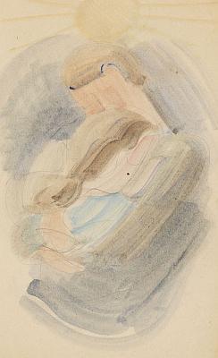 O. Schlemmer, Umarmung II. Thinned oil over pencil, 1942. 11.4 x 6.8 in. Estim.: EUR 18.000-24.000