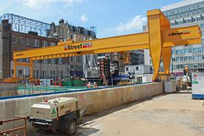With a 37 metres lift, the Goliath crane from Street makes short work of lifting from and lowering to the base of the shaft.