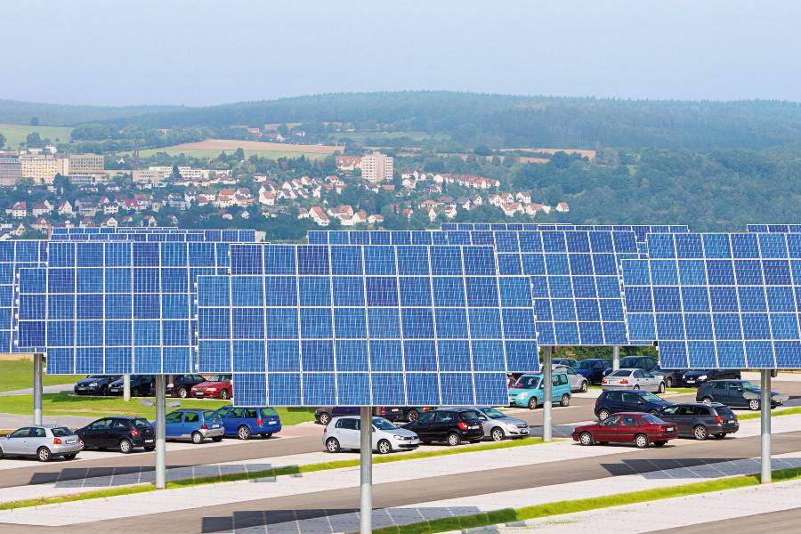 Multi-use area - Kirchner Solar Group tracking systems integrated into a parking lot
