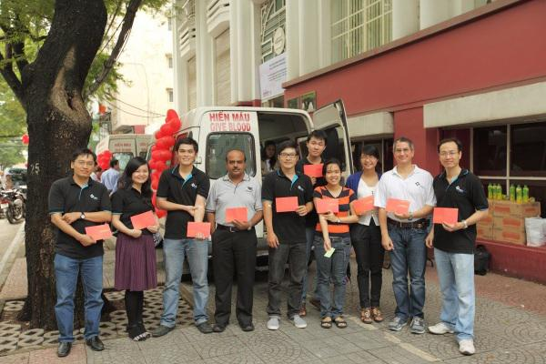 TRG International staff after giving blood at Saigon Times' office, District 1
