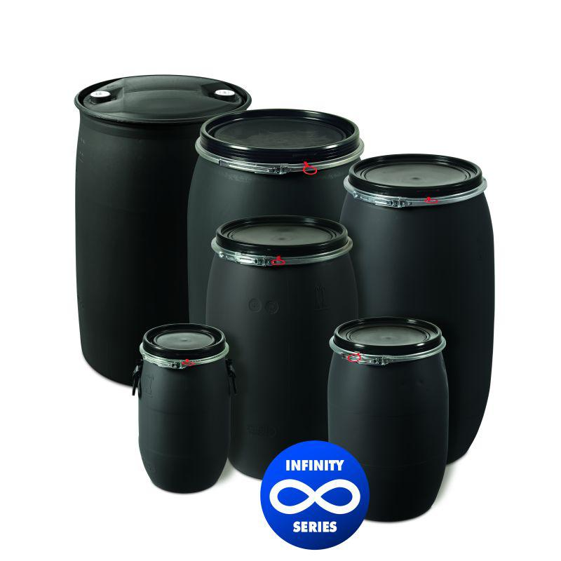 The MAUSER Infinity(TM) plastic drum series – consisting of high quality recycled plastic material