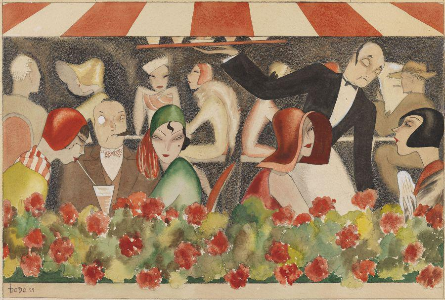 Dodo (that is D. C. Wolff), Wedding auf dem Dachgarten. 1929. Gouache. 18.3 x 25.1 in. EUR 40.000-60.000