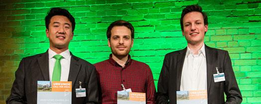 "Three winners of the ""Call for Ideas"" competition (Photo: Ulf Büschleb, © Fraunhofer)"