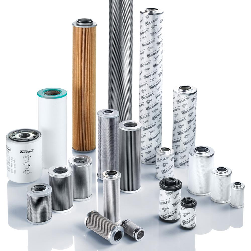 More than 10,000 different types of replacement filter elements for hydraulic and lubricating oil systems are available from Stauf